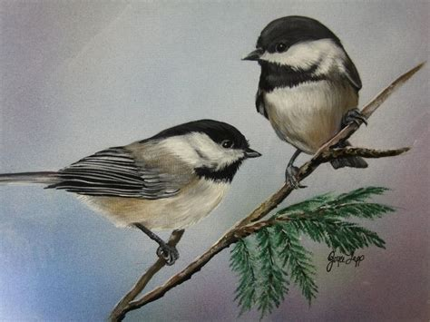 chickadee pictures two chickadees painting by joyce lapp
