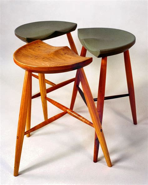 A Three Legged Stool by Crafted Three Legged Stool By Holmquist Furniture
