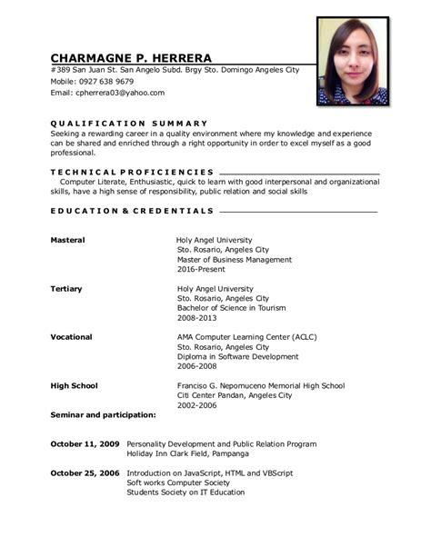 format ng resume sa tagalog resume charm 3