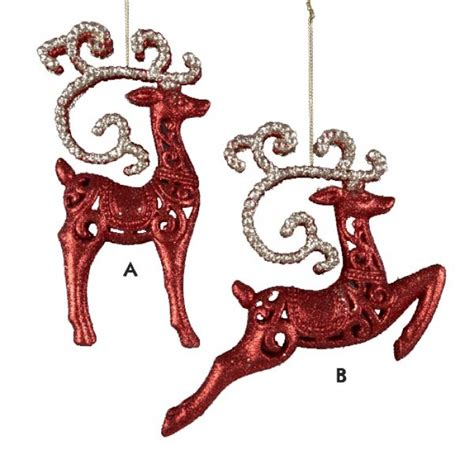 glittered leaping red reindeer with horns christmas