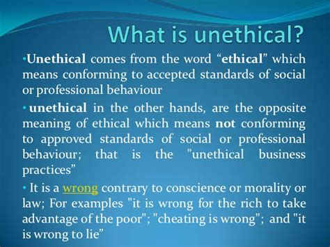 what is unethical behavior of a company
