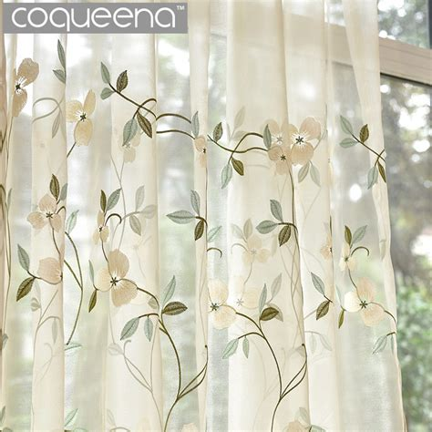 leaf pattern kitchen curtains elegant leaf pattern embroidered sheer voile curtains for