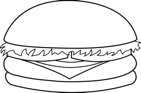 colorable hamburger line art free clip art