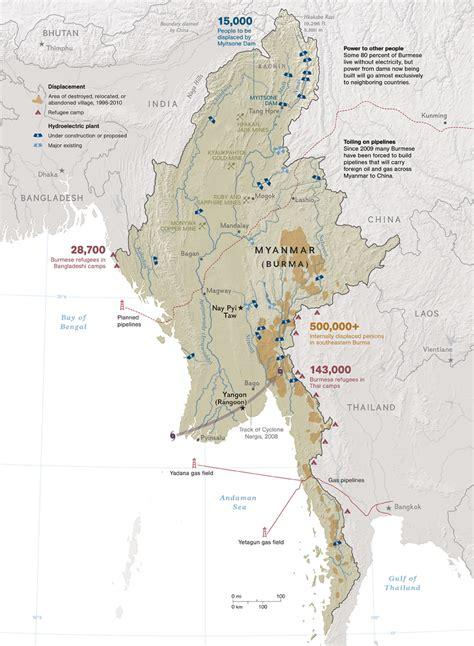 myanmar physical map birma geographischen karte
