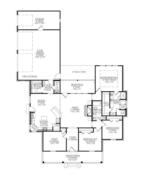 653325 stunning 3 bedroom open house plan with study