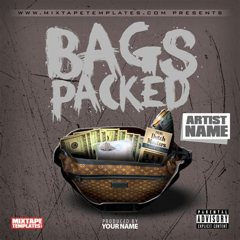 mixtape design templates bags packed mixtape cover template by