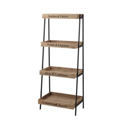 etagere legno scaffale nero in metallo e legno l 52 cm primeurs