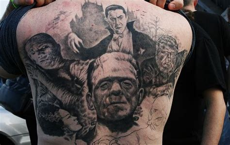 tattoo universal studios back tattoo featuring an amazing collage of the classic