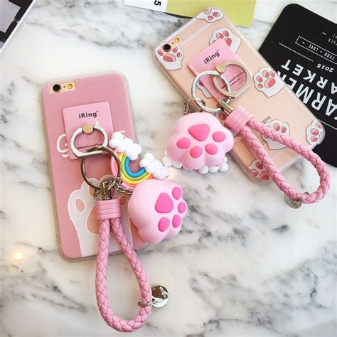 cute kawaii cat claw pink iphonesplus cartoon phone case fashion kawaii japan korea
