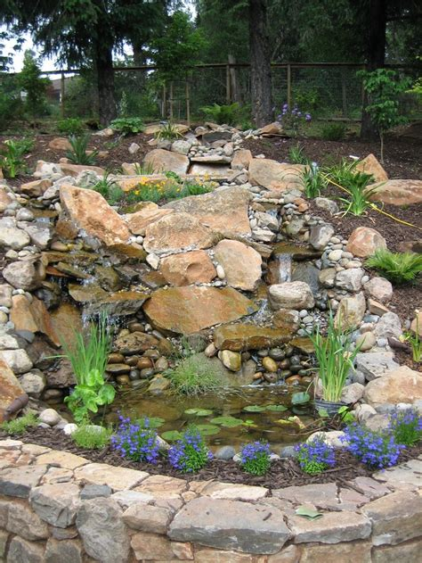 backyard river backyard waterfall made from river rock and slate very