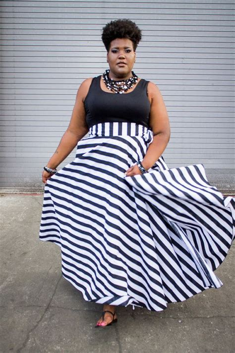7 Style Tips For A Large Bustline by Plus Size Maxi Skirt Stripes Plus Size High By