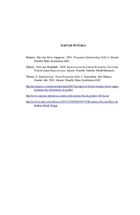 Pengantar Epidemiologi Edisi 2 Dr Eko Budiarto kondisi angka kematian ibu di jember