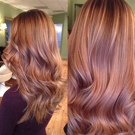 red heads with partial blonde highlights this color is so pretty almost like a strawberry brown