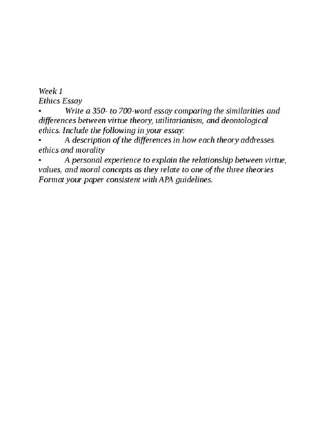 Eth 316 Ethics Essay by Eth 316 Week 1 Individual Assignment Ethics Essay New Hashdoc