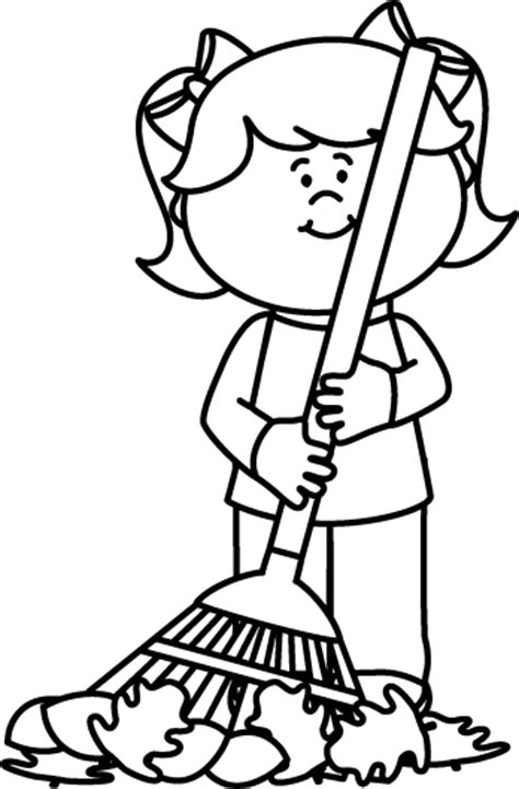 coloring pages of raking leaves black and white girl raking leaves painting colouring