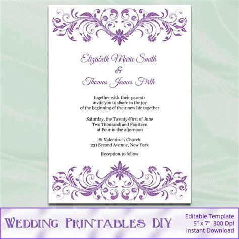 diy printable wedding invitation templates orchid purple