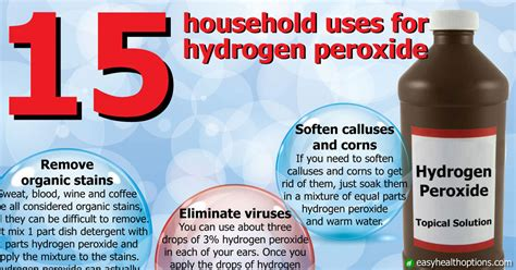 H2o2 Detox Assist Liquenscence by 15 Household Uses For Hydrogen Peroxide Infographic