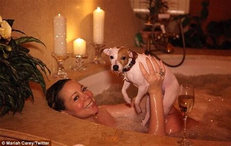 with wife in bathroom is that really hygienic mariah carey s dog crashes her
