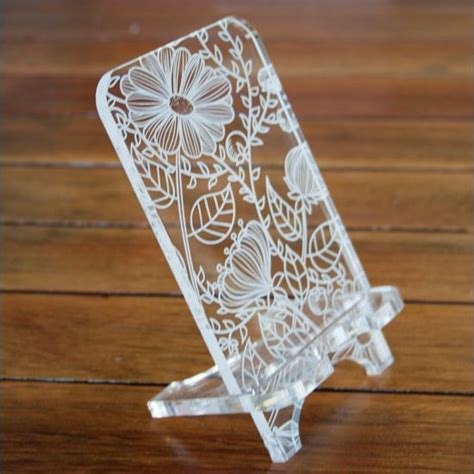 design pattern holder cell phone stand laser cut template pattern design