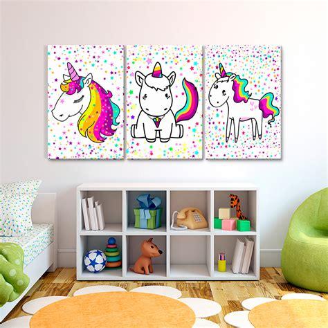 cuadros fotos cuadros decorativos tiempo de unicornio 3 pz 40x60 999