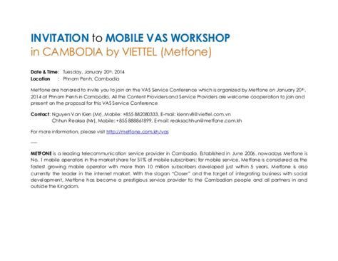 Invitation Letter Partners Meeting Invitation Letter For Mvas Workshop Of Viettel Cambodia Metfone