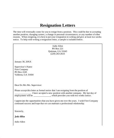 Standard Resignation Letter Www Drpools Us Sle Resignation Letter Template
