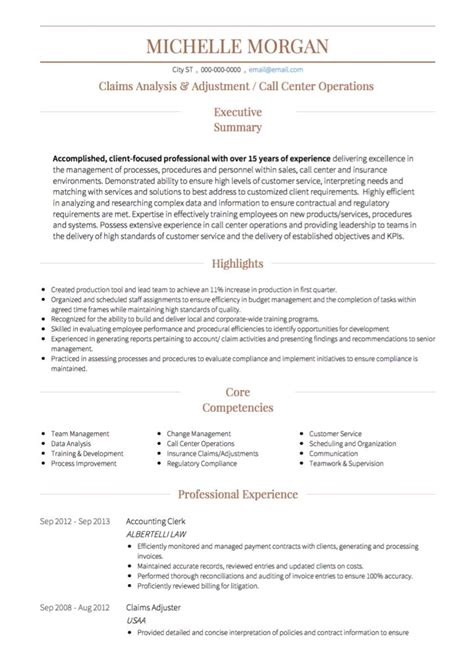 Sle Resume For Call Center With Experience