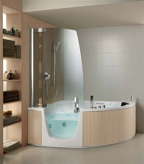bathtubs with showers teuco corner whirlpool shower integrates shower with bathtub