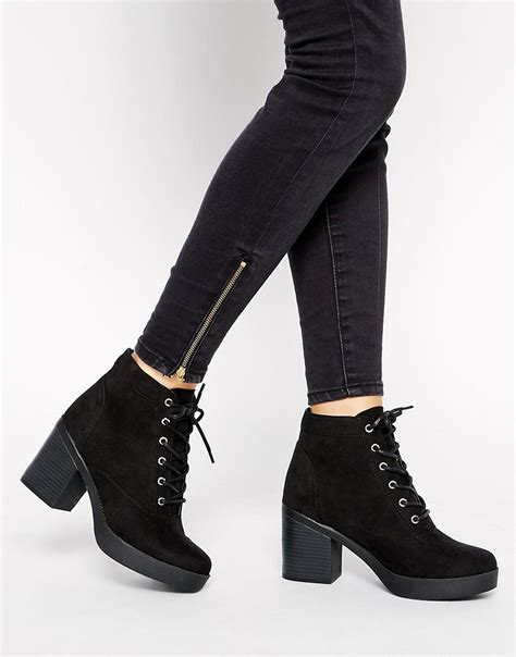 new look new look carnaby lace up heeled boots at asos