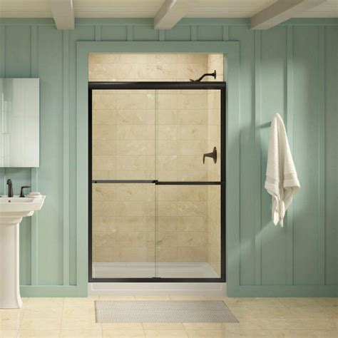 Shower Door Bronze Kohler Gradient 47 5 8 In X 70 1 16 In Sliding Shower Door In Anodized Bronze K R709063 L Abz