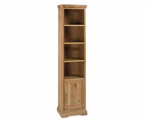 Narrow Bookshelf Provence Oak Narrow Bookcase With Cupboard Uk Delivery