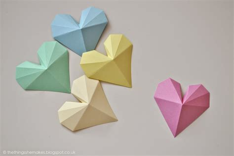 Paper Things - how to make 3d geometric paper hearts the things she makes