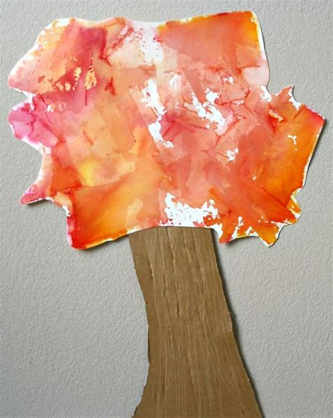 Autumn Paper Crafts - tissue paper fall tree craft