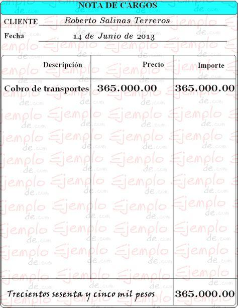 factura nota de cargo nota de credito recibo de ejemplo de nota de cargo
