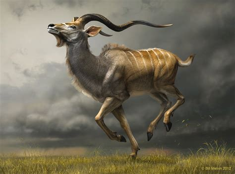 free animal painting charging kudu 3d digital sculpture on behance
