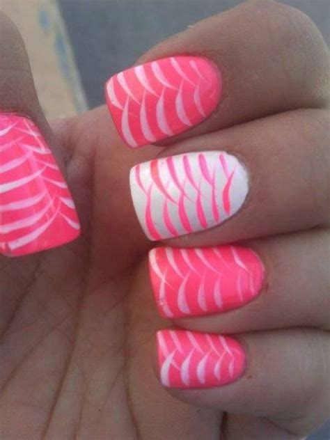 a simple and easy girly zebra nail art design finger 85 hot pink nail art designs for girls