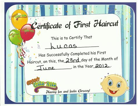 first haircut certificate template first haircut the