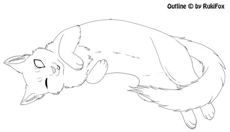 Outline Drawing Cat Laying Vitruvian Outline by Laying Cat Template By Rukifox On Deviantart