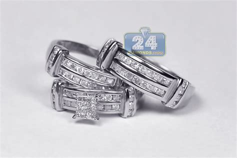 14k white gold 1 34 ct mens womens wedding rings set