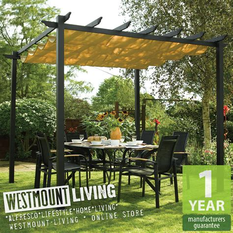 new garden patio metal retractable pergola sun canopy
