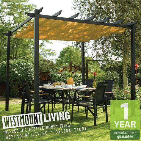 New garden patio metal retractable pergola sun canopy awning cover ebay