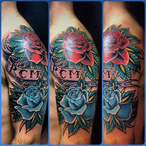 blue and red roses tattoo
