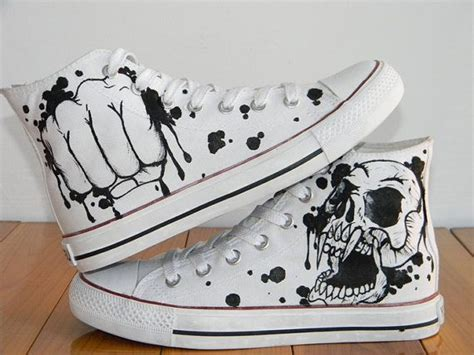 cool fashion skull design custom converse chucks