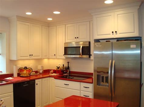 white w countertops and stained accent wall