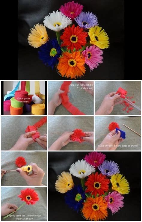 How To Make Flowers Out Of Crepe Paper - diy paper flower step by step tutorials k4 craft