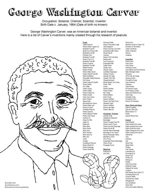 free coloring pages of george washington carver george washington carver delightful doodles coloring fun