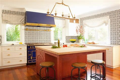 Blue Stove and Hood   Eclectic   Kitchen