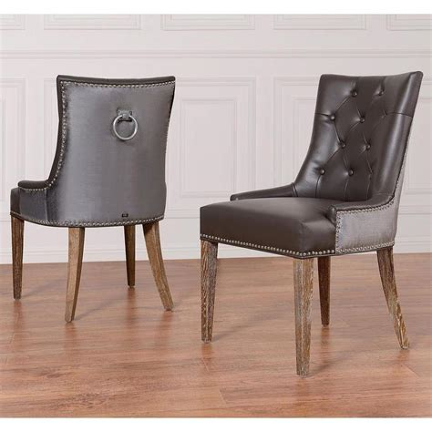 Gray Leather Dining Room Chairs by Uptown Grey Leather Velvet Dining Chair