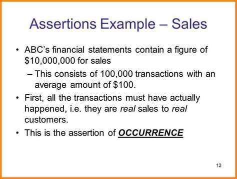 7 financial statement assertions examples case