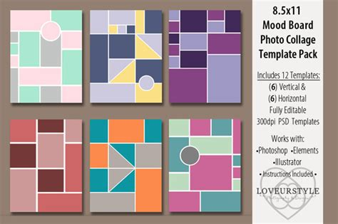 Template 8 5x11 Mood Board Photo Templates 187 Logotire Com Mood Board Illustrator Template